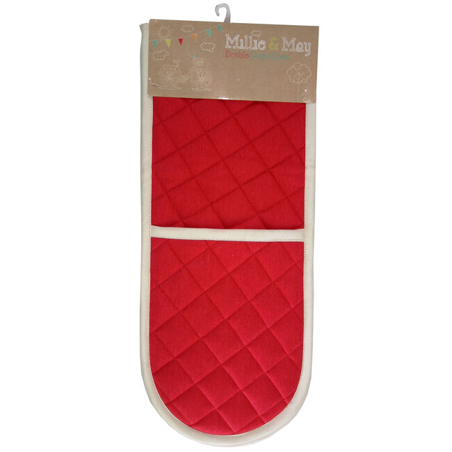 Two Tone Double Oven Glove - Red/Cream
