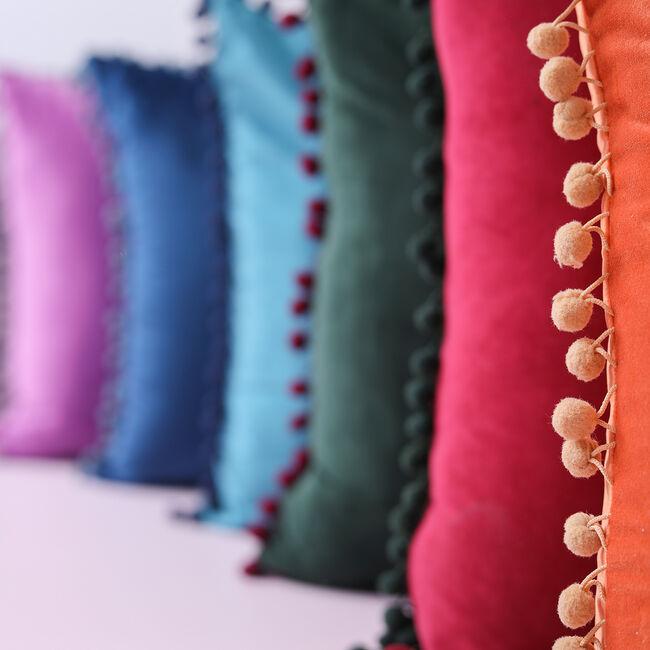 Pom Pom Cushion 45x45cm - Burgundy