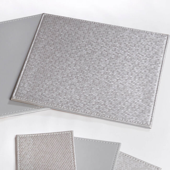 Honeycomb Square Placemats Pack of 4 - Silver