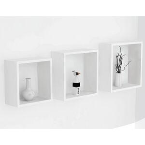 Bergen White 3 Set Cube Floating Wall Shelf Set