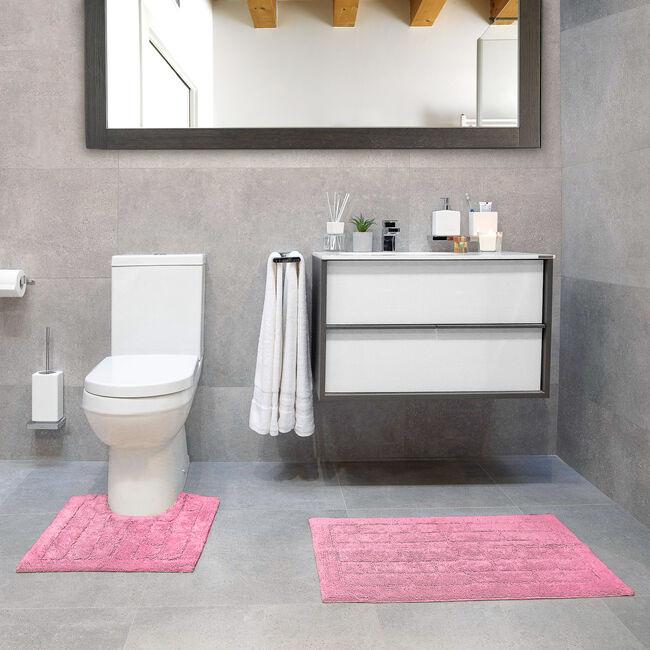 Cotton Brick Blush Pink Bath Mat 50cm x 80cm