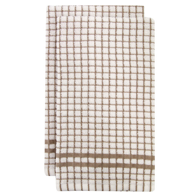 Mono Check Natural Tea Towels 2 Pack