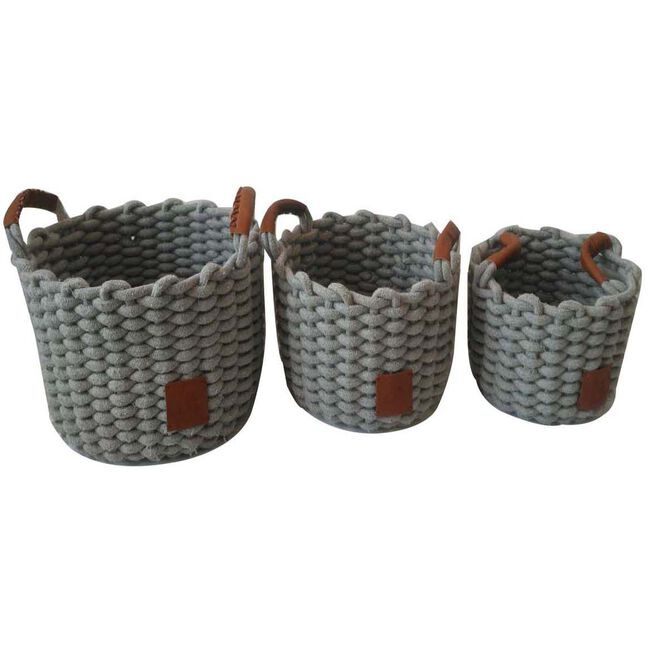 Weft Round Grey Baskets Set of Three
