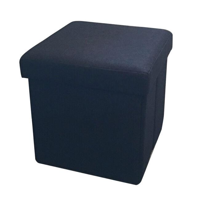 Deluxe Linen Folding Ottoman - Black