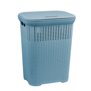 Knit Laundry Hamper Dark Blue
