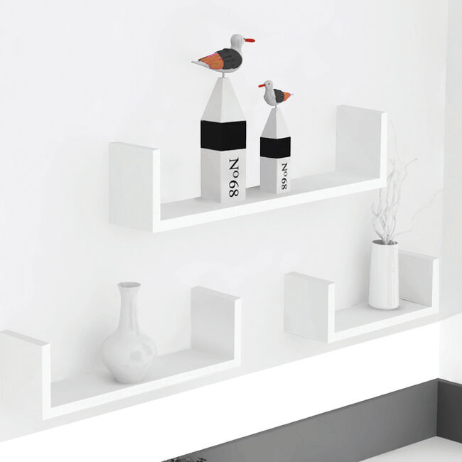 Bergen White 3 Set U-Shape Floating Wall Shelf
