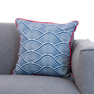 Waves Navy/Red Cushion 45x45cm