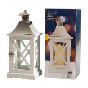Heritage Medium Chrome White Lantern