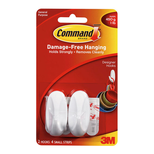 Command 2Pk Small Plastic Hooks