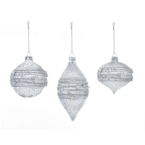Frosted Silver Christmas Tree Decorations