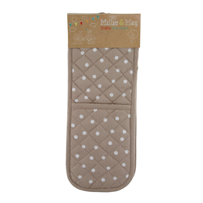 Polka Dot Double Oven Glove - Natural
