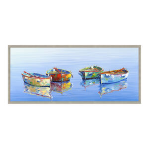 Colourful Boats 47x108cm Framed