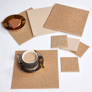 Reversible Square Glitter Placemats - Gold