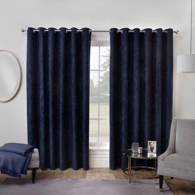 BLACKOUT & THERMAL HERRINGBONE NAVY 66x54 Curtain