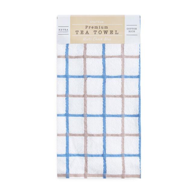 Multi Check Tea Towel - Blue