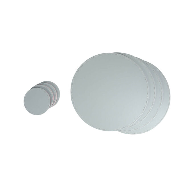 Reversible Round Coasters 4 Pack - Grey & Blush