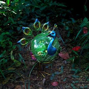 Crackle Ball Peacock Solar Light