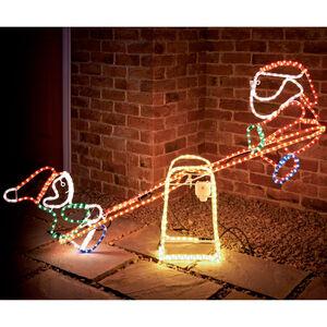 Santa & Elf See-Saw Rope Light