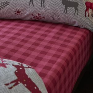 HERRINGBONE STAG BERRY Super King Fitted Sheet