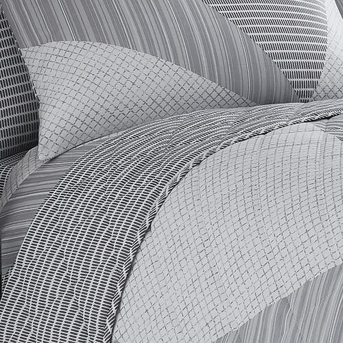 Spliced Geo Bedspread 200x220cm - Grey