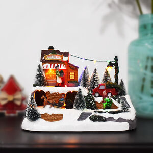 Musical Christmas Village with Trees