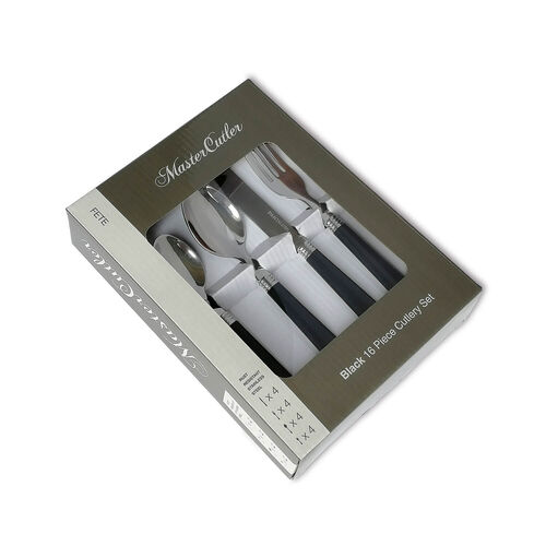 Master Cutler 16 Piece Cutlery Set - Black
