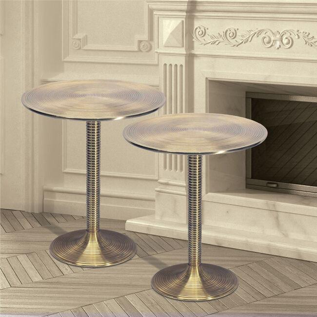 Balzac Brass Side Table Pair 37x37x49cm