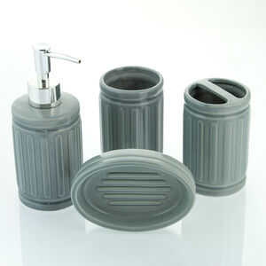 Renzo 4 Piece Bathroom Set Grey