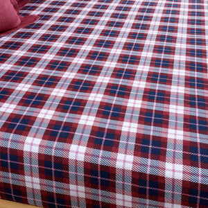 BRUSHED COTTON STAG CHECK BERRY Single Fitted Sheet