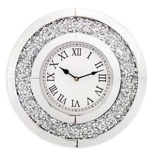 Crushed Silver Clock 40cm