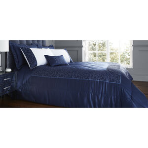Fleur De Lis Navy Bedspread 220x230cm