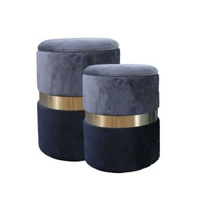 Cassie Two Tone Stools Black/Charcoal - Set of 2