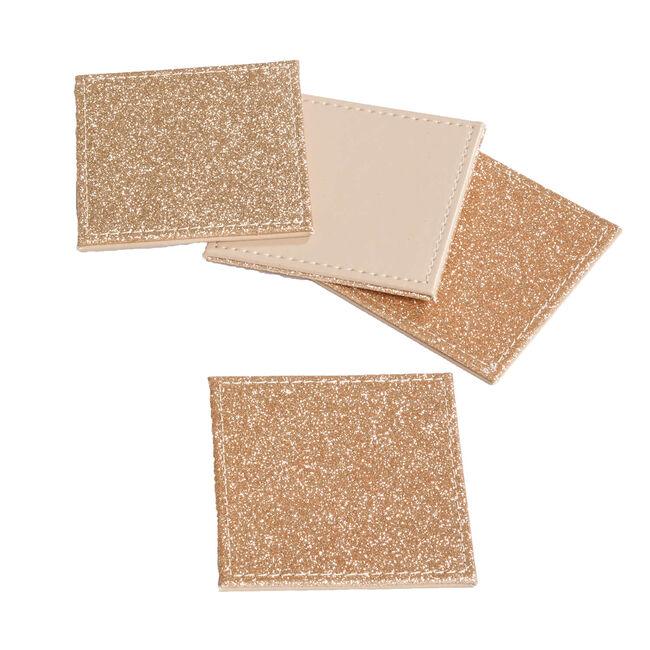 Reversible Square Glitter Coasters - Gold