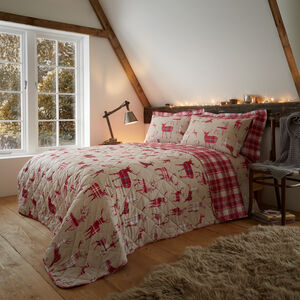 Brushed Cotton Plaid Stag Bedspread 200 x 220cm