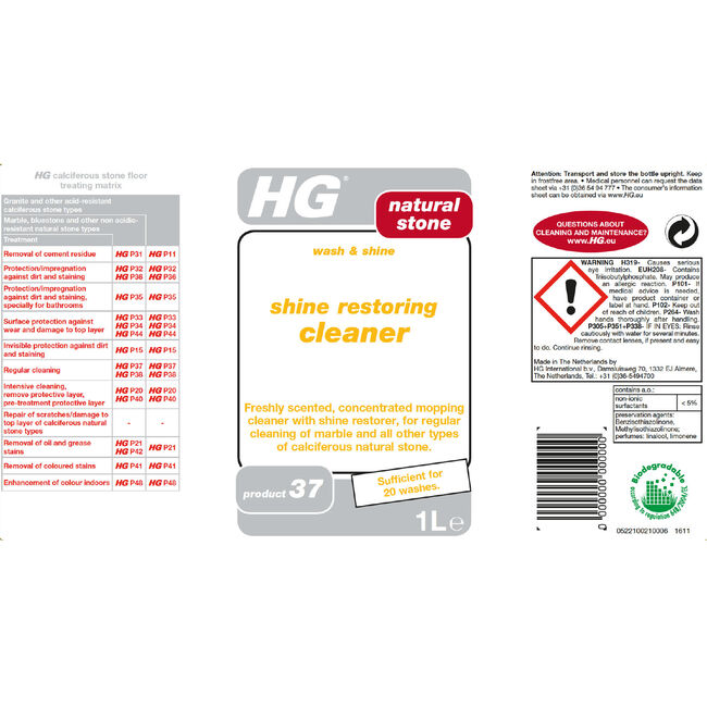 HG Wash and Shine Floor Cleaner 1L
