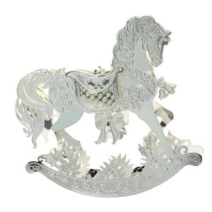 3D Silver Rocking Horse Tree Decoration