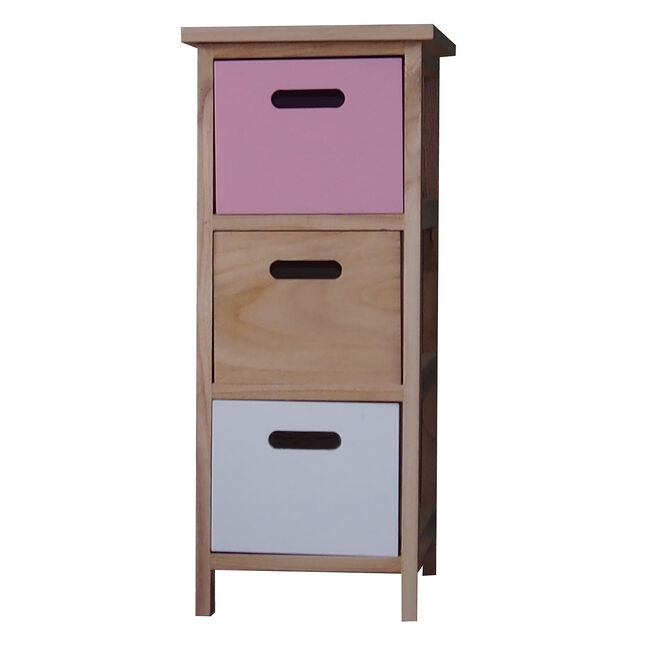 Kari 3 Drawer Pink/White Unit