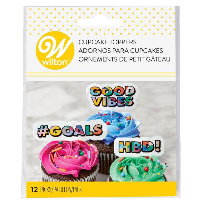 Wilton Fun Word Cake Topper Picks - 12 Pieces