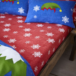 Brushed Cotton Holly Jolly Elf Fitted Sheet