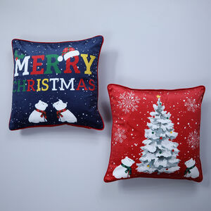 Beary Christmas Cushion Cover 2 Pack 45x45cm