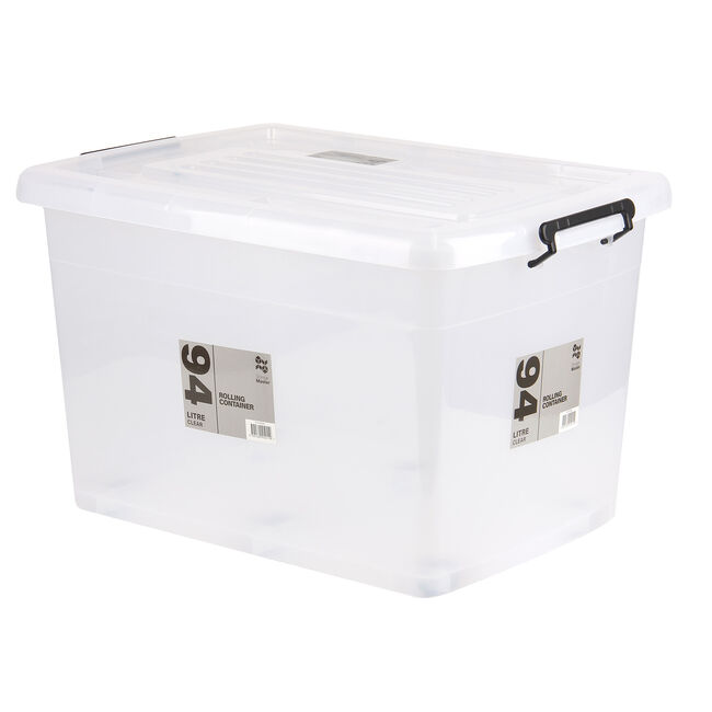 Rolling Storage Box with Lid 94L