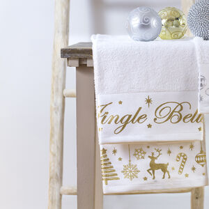 Jingle Bells Gold 2 Pack Tea Towels
