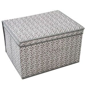 Knit Grey Foldable Storage Chest