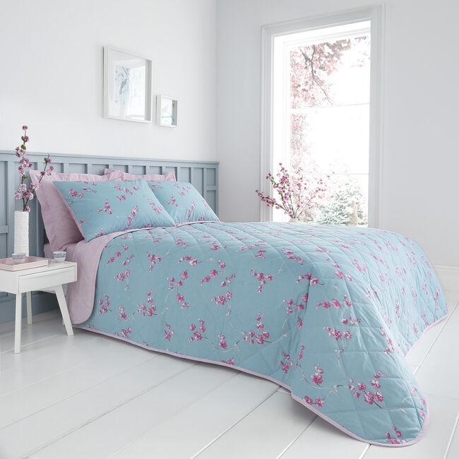 Mabel Bedspread 200x220cm - Teal/Mauve