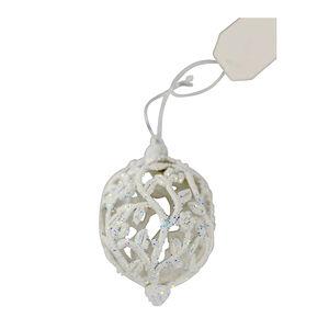 Glitter Bauble Tree Decoration - White