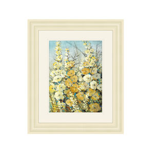 Cream Hollyhocks 50cm x 60cm Frame