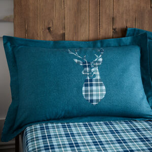 BRUSHED COTTON STAG CHECK TEAL Oxford Pillowcase Pair