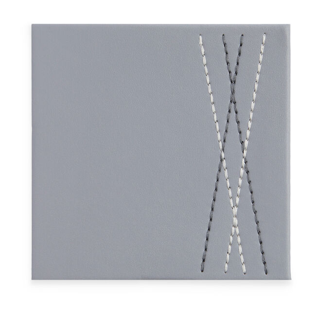 Reversible Leather Diamond Coaster - Duck Egg/Grey
