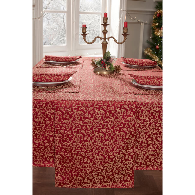 Versailles Table Runner 229x40cm - Red/Gold