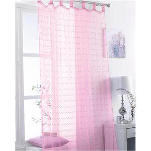 Zigzag Sequin Pink Tab Top Voile